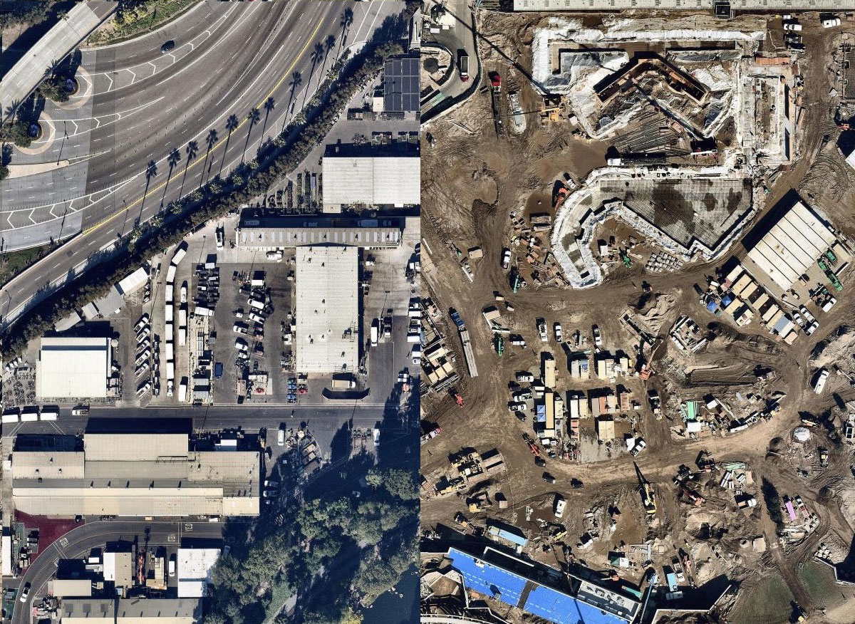 Arial View Before And After Start Of Construction For Star Wars Land