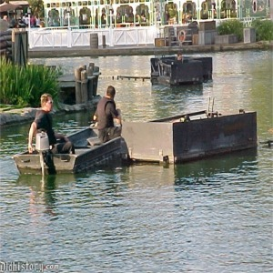 Setting Up Water Screens And Fireworks Barge