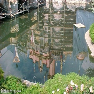 Moat Reflection Of Scaffolding And Tarp For 50th Anniversary Refurbishment