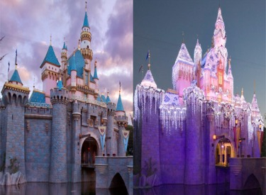 Sleeping Beauty's Winter Castle Before And After