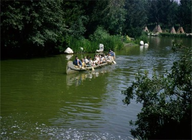 Guests Paddling Away From Indian Village