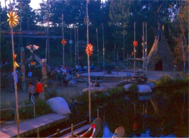 Indian Village And Canoes