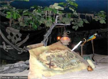 Pirates 40th Treasure Map And Parrot