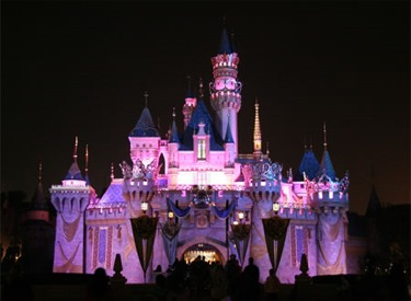 Castle Decorated For 50th Birthday Celebration At Night