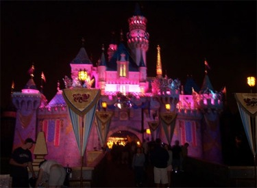 Sleeping Beauty Castle Decorated For 50th At Night