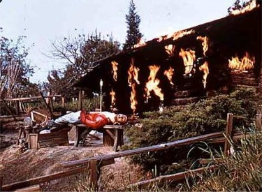 Burning Settlers Cabin With Dead Settler