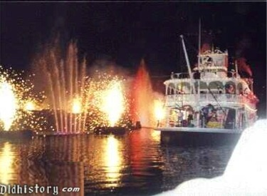 Mark Twain And Fireworks And Water Fountains