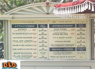 Attraction Wait Time Board