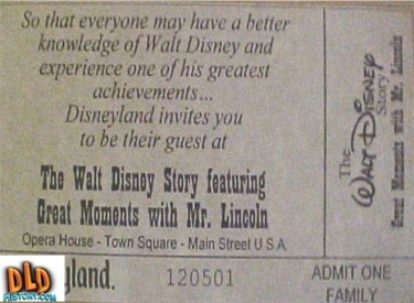 Free Walt Disney Story Ticket
