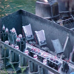 Close Up Of Water Screens And Fireworks Barge