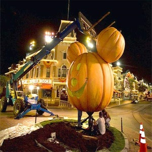 160-Foot-Tall Mickey Jack-O'-Lantern Being Installed On Main Street