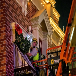 Installing Christmas Decorations