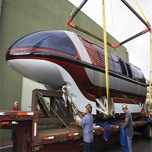 Mark VII Monorail Red Being Lowered Onto Beam