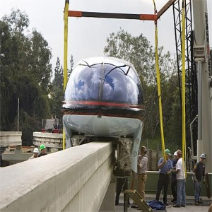 Mark VII Monorail Red Being Lifted Off Of Truck