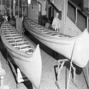 Canoes Being Built By Old Town Canoe Company in Bangor Maine