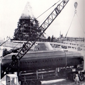 Submarine Being Unloaded From Trailer