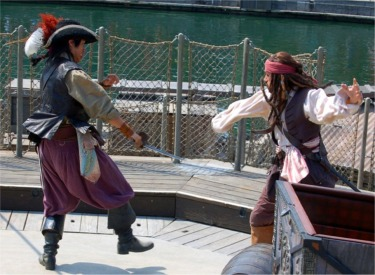 Jack Sparrow In Sword Fight With Will Turner