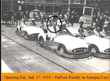 DeFore Family In Autopia Cars On Opening Day