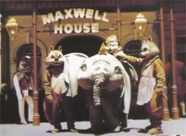 Chip And Dale And Pinocchio In Front Of Maxwell House Coffee House