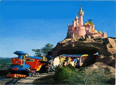 Casey Jr. Circus Train Passing Through Cinderella Castle
