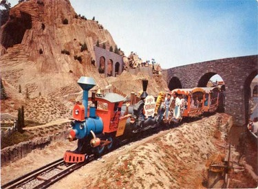 Casey Jr. Circus Train Passing Through Arch Bridge