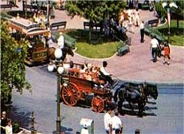 Horse-Drawn Fire Wagon Circling Town Square