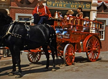 Horse-Drawn Fire Wagon In Front Of Fire House