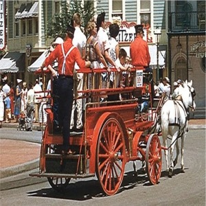 Horsedrawn Fire Wagon On Main Street