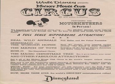 Mickey Mouse Club Circus Flyer