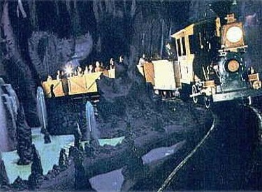 Train Passing Through Caverns