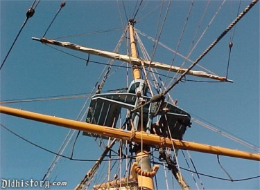 Main Mast With Sails Stowed