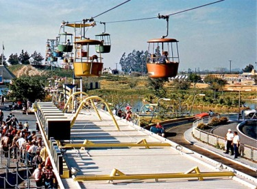 Original Skyway Buckets Passing Over Tomorrowland Autopia Load