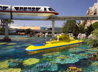 Mark VI Monorail Red Passing Over Neptune In Submarine Lagoon
