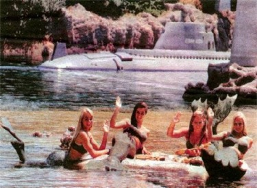 Gray Submarine And Live Mermaids