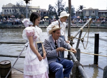 Walt Disney, Becky Thatcher And Tom Sawyer Fishing In Catfish Cove