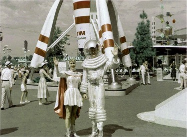 TWA Moonliner With Spaceman And Space Woman