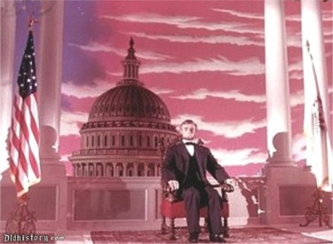 Abraham Lincoln And Capitol Building And Flag In Clouds