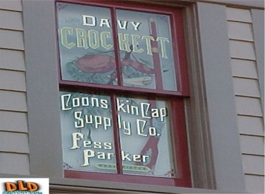 Davy Crockett Coonskin Cap Supply Co. Fess Parker Proprietor Window