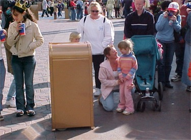 The Dancing Talking Trash Can Talking To A Little Girl