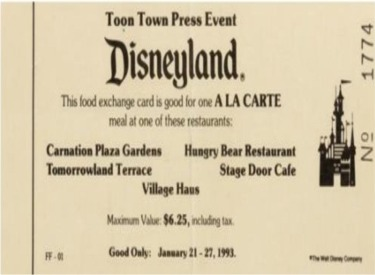 Toon Town Press Event Food Card