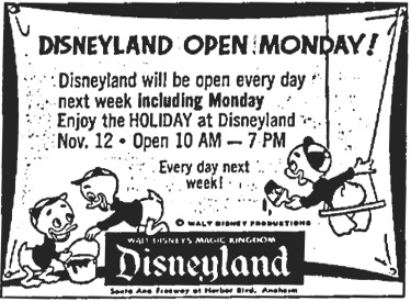 Disneyland Open Monday
