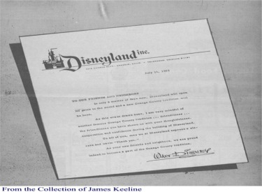 Open Letter From Walt Disney