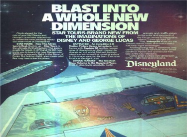 Advertisement featuring Star Tours, Circus Fantasy,Captain EO