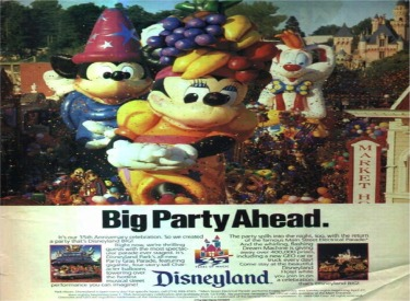 Advertisement featuring Disneyland 35th Anniversary,Party Gras Parade