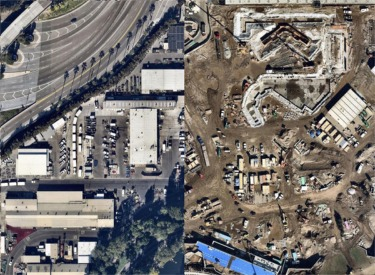 Arial View Before And After Start Of Construction For Star Wars Land(2017)