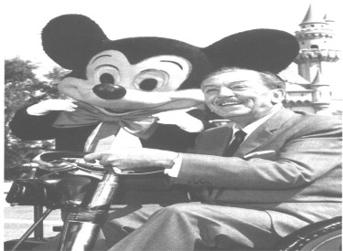 Walt And Mickey Mouse Riding In Parade Car At Disneyland